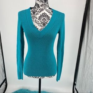 Marciano metallic teal cut out ribbed v-neck top